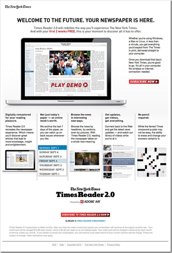 landing page example -newyorktimes