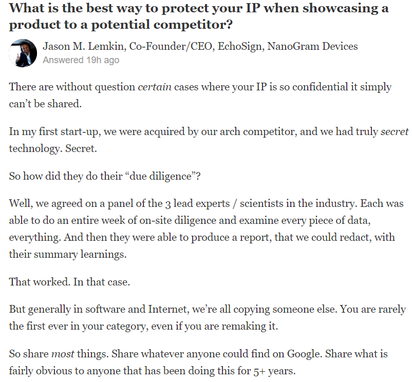 Quora answer Jason Lemkin SaaStr
