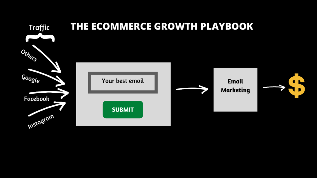 a view of the ecom growth playbook- convert traffic to email, run it through email marketing and profit