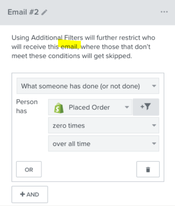 email filters within a klaviyo flow