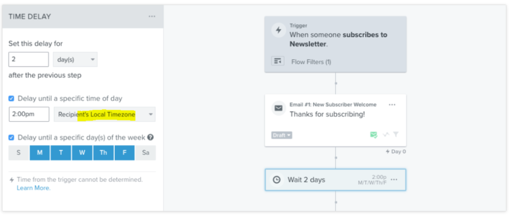 time delay klaviyo automated emails